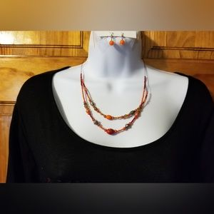 Jewelry - Beaded Layers Necklace with Earrings